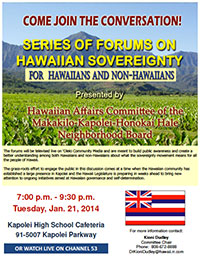 Hawaiian Sovereignty Forum January 2014 - thumbnail flyer image